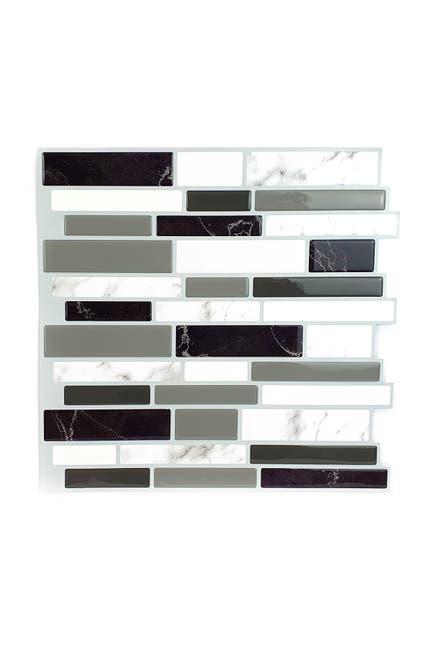 Image of WalPlus Light and Dark Marble Glossy 3D Metro Sticker Tiles Premium Wall Splashbacks Mosaics