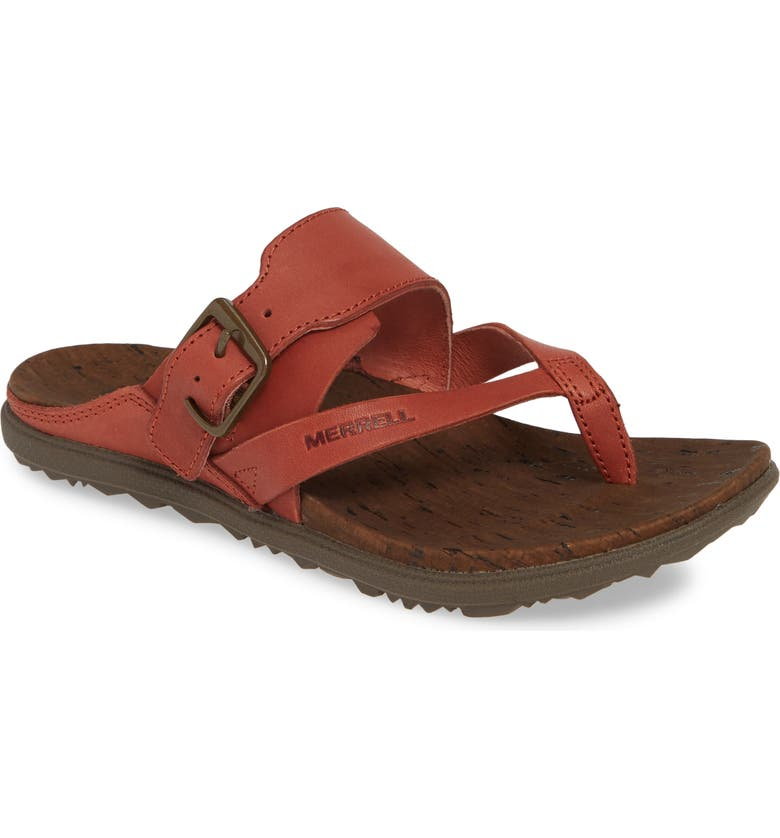 MERRELL Around Town Luxe Flip Flop, Main, color, REDWOOD LEATHER
