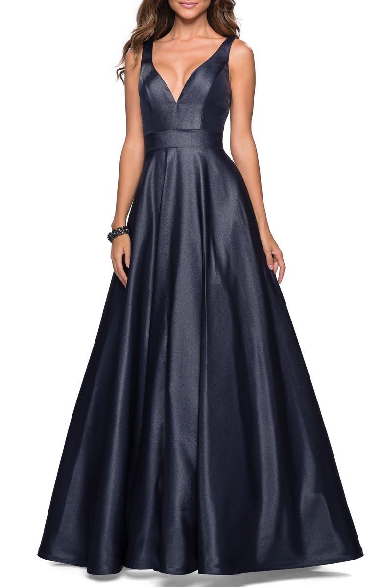 LA FEMME Mikado Evening Dress, Main, color, NAVY