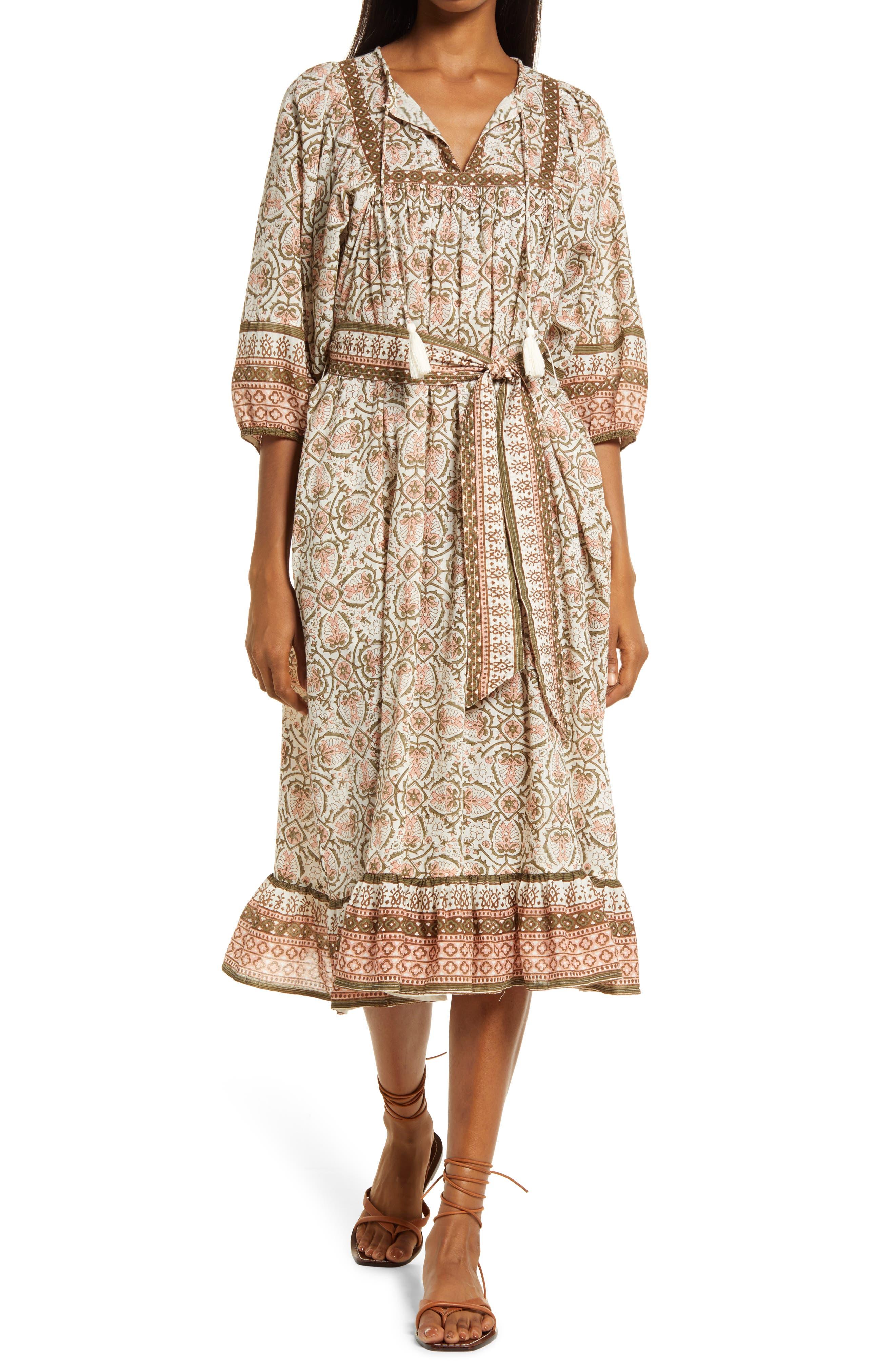 Magdalena Mosaic Block Print Organic Cotton Dress