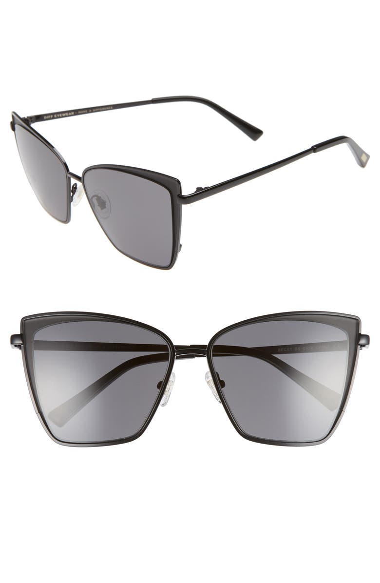 DIFF Becky 57mm Sunglasses, Main, color, BLACK/ GREY