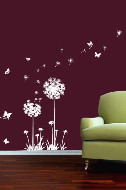 Image of WalPlus White Dandelion Butterflies Decal