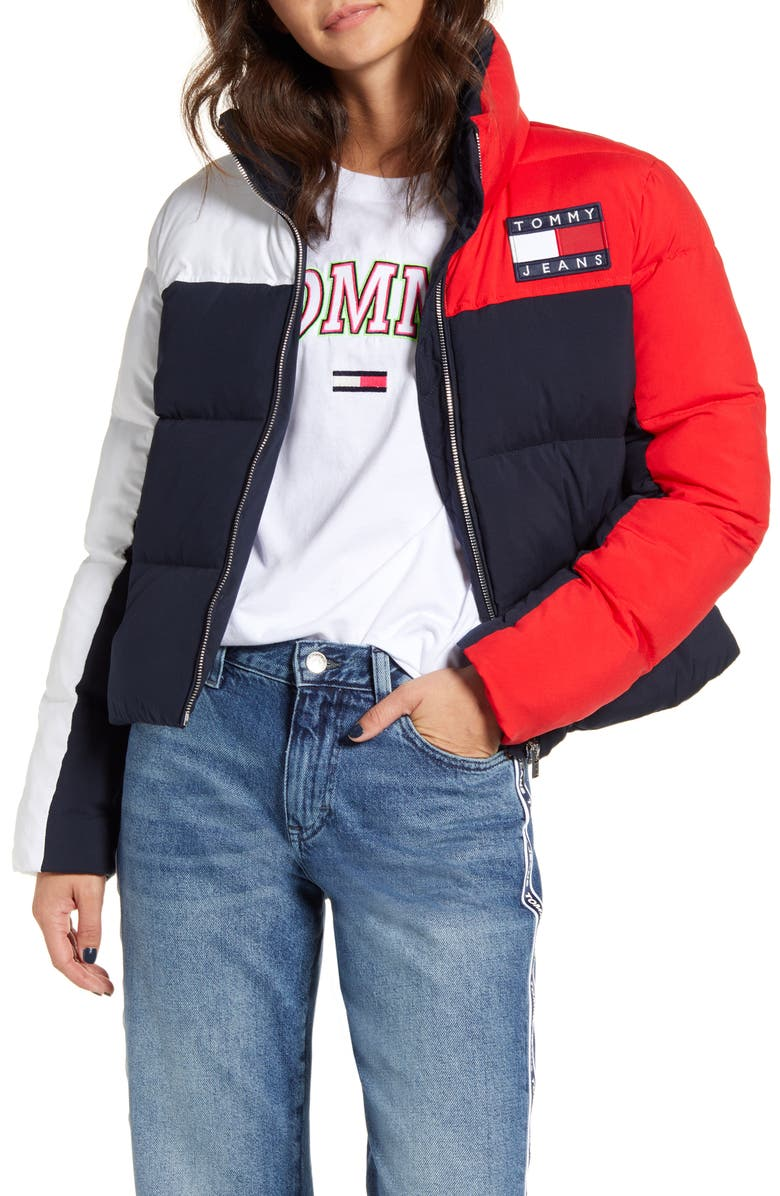 TOMMY JEANS Colorblock Puffer Coat, Main, color, 471
