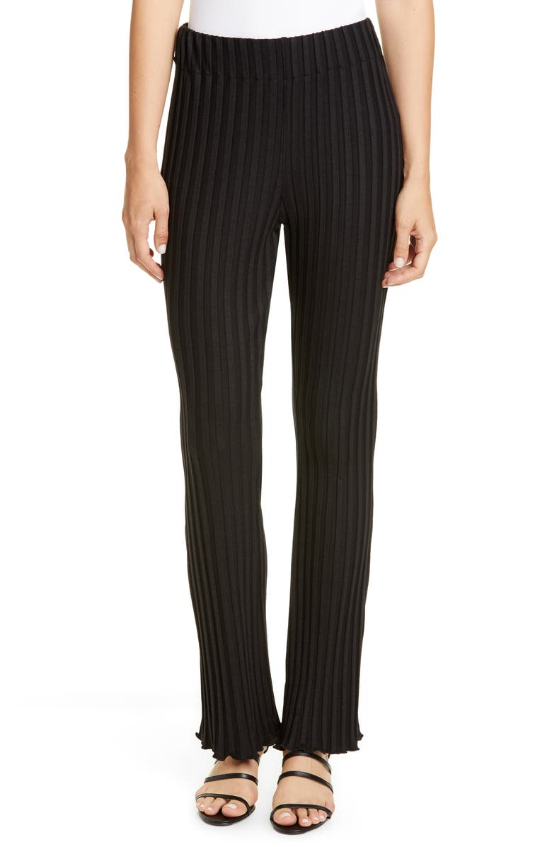 SIMON MILLER Flared Leg Rib Pants, Main, color, BLACK