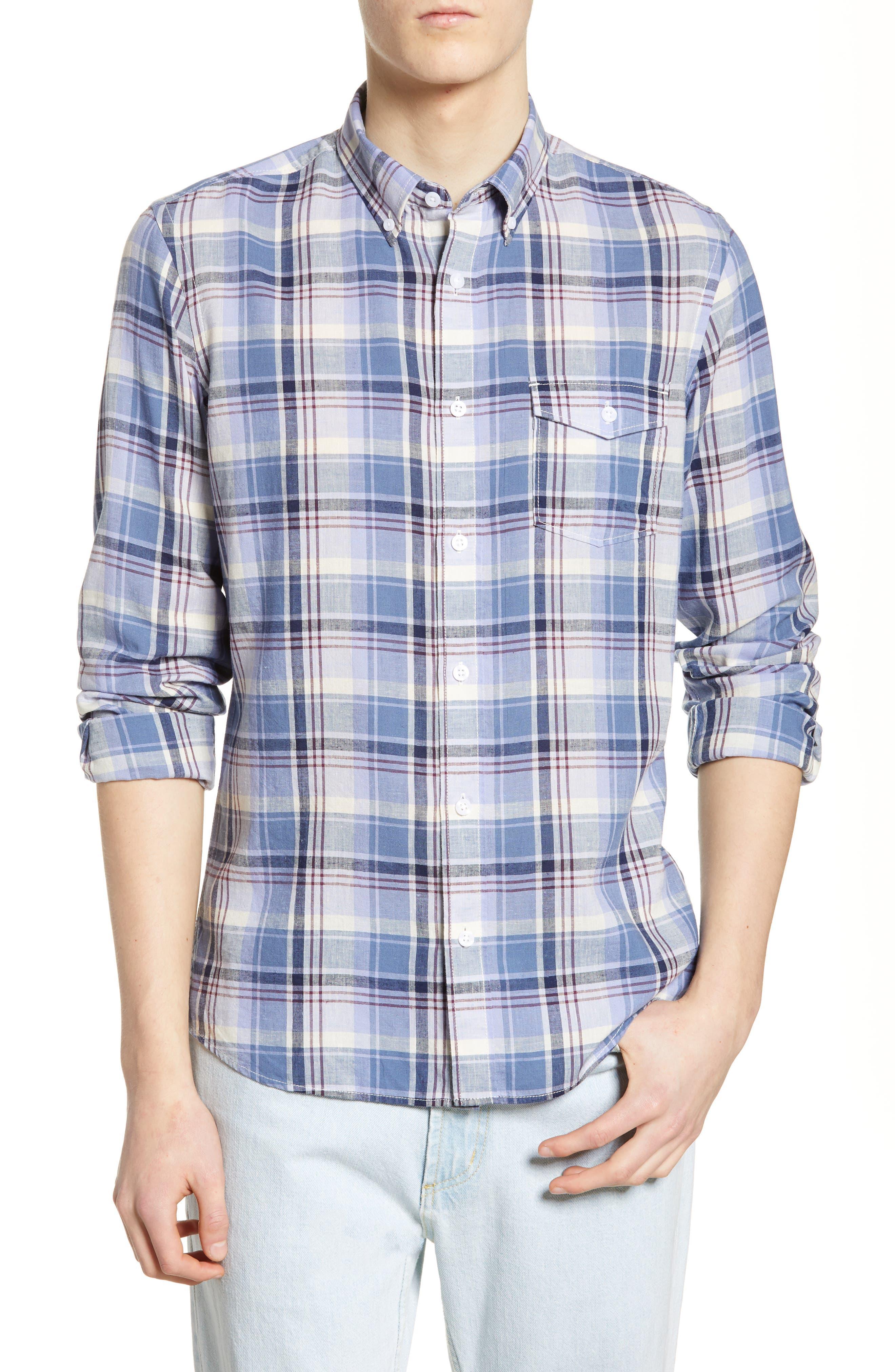 Nordstrom Shop Regular Fit Plaid Sport Shirt, Blue