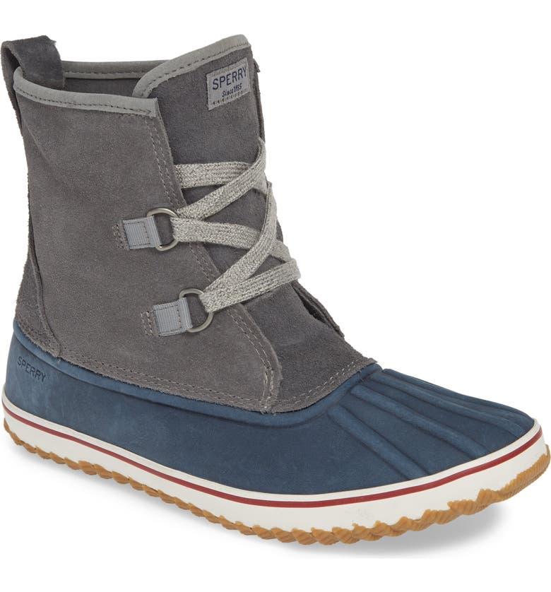 SPERRY Schooner Duck Boot, Main, color, GREY/ NAVY SUEDE
