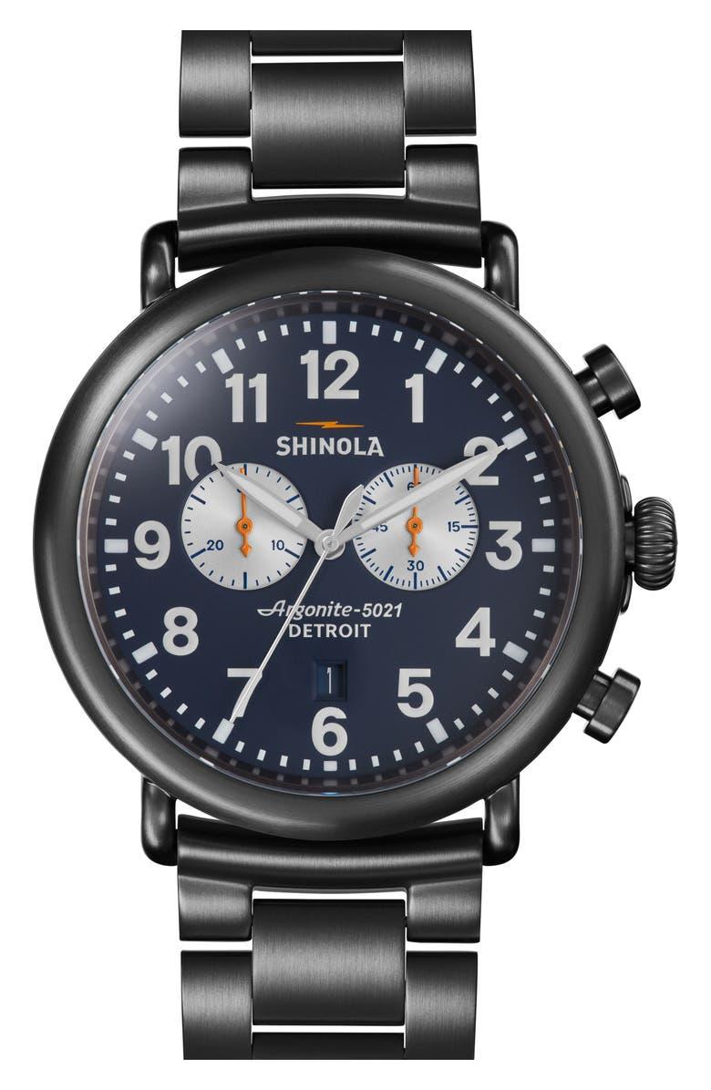 SHINOLA 'The Runwell Chrono' Bracelet Watch, 47mm, Main, color, GUNMETAL/ NAVY/ GUNMETAL