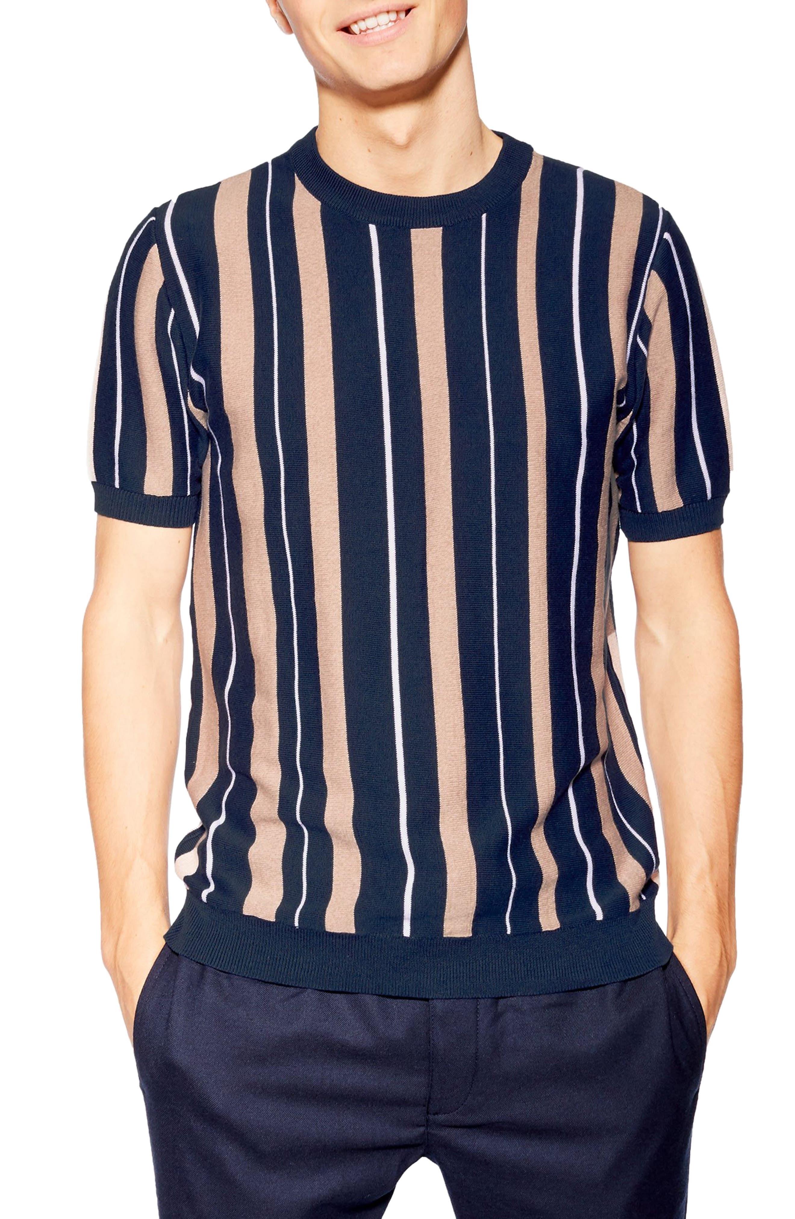 1960s – 70s Mens Shirts- Disco Shirts, Hippie Shirts Mens Topman Vertical Stripe Knit T-Shirt $45.00 AT vintagedancer.com