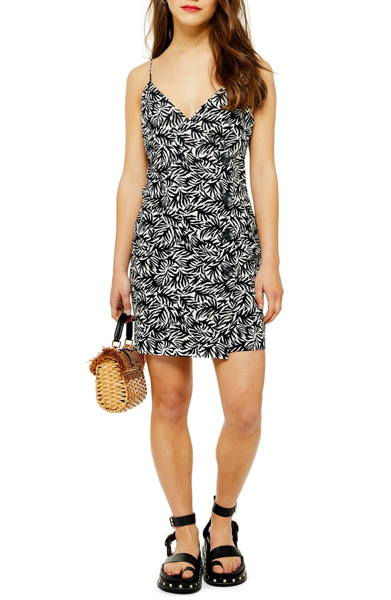 TOPSHOP Sleeveless Button Minidress, Main, color, BLACK MULTI