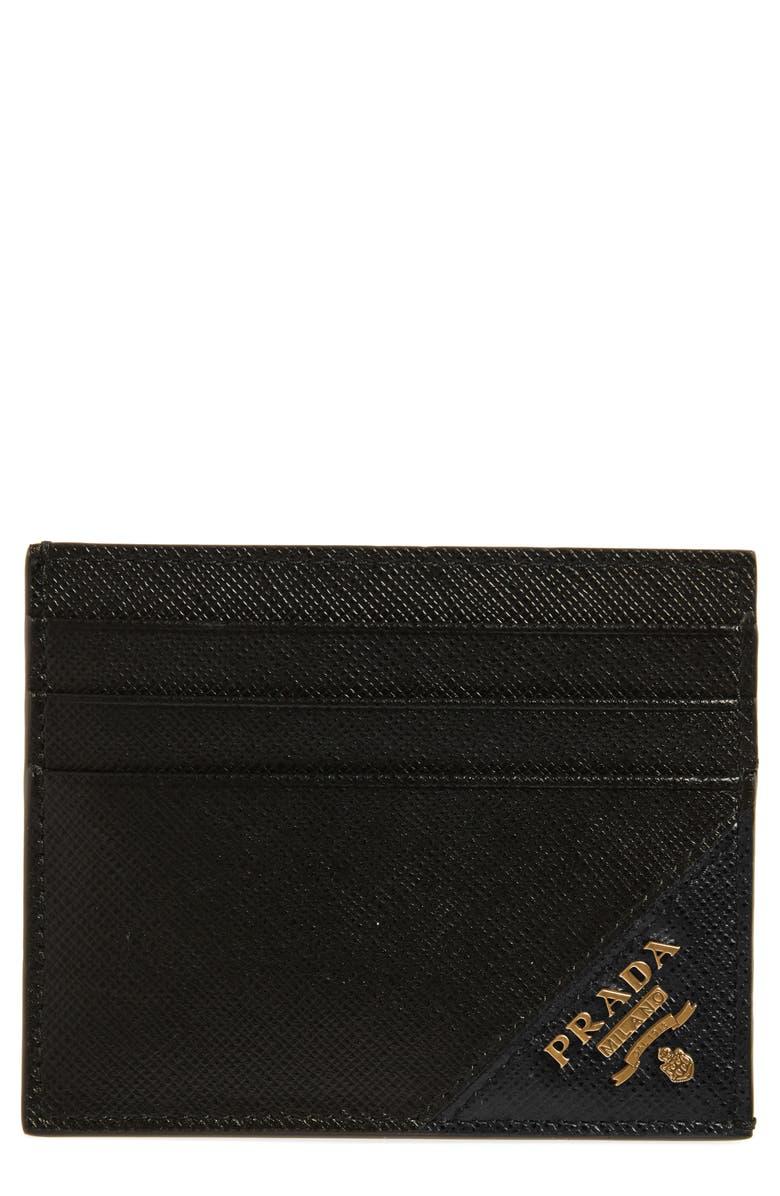 PRADA Saffiano Leather Card Case, Main, color, NERO 1
