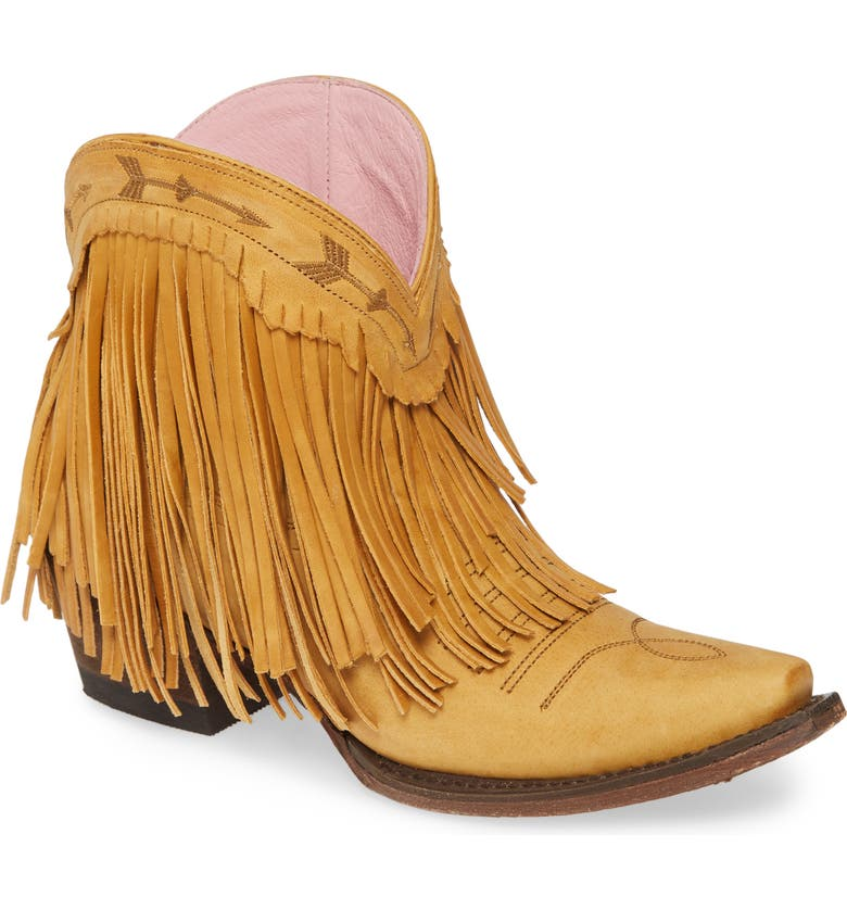 LANE BOOTS x Junk Gypsy Spitfire Fringe Bootie, Main, color, MUSTARD LEATHER