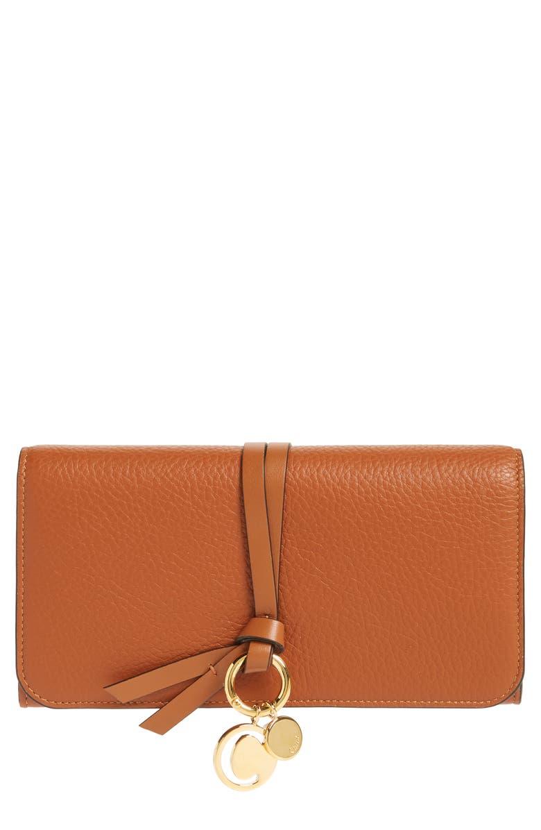 CHLOÉ Alphabet Leather Wallet, Main, color, TAN