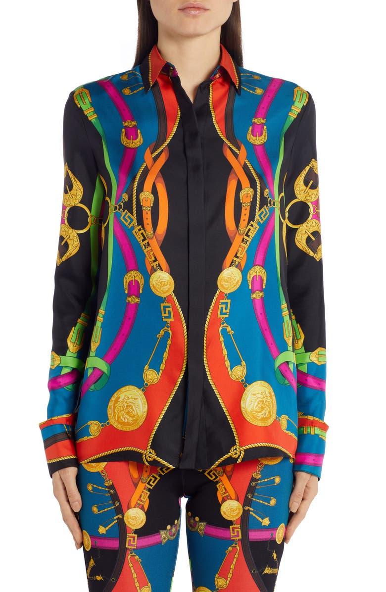 VERSACE Barocco Rodeo Print Silk Shirt, Main, color, MULTI