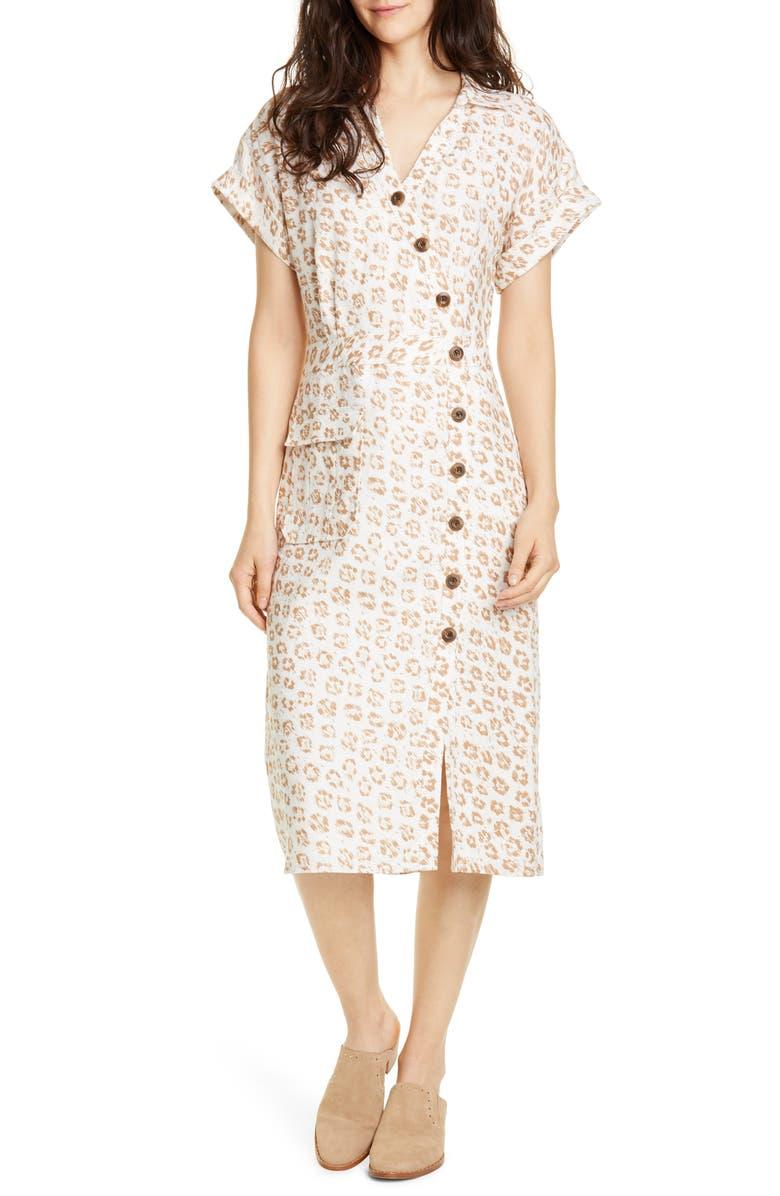 JOIE Coady Linen Shirtdress, Main, color, PORCELAIN