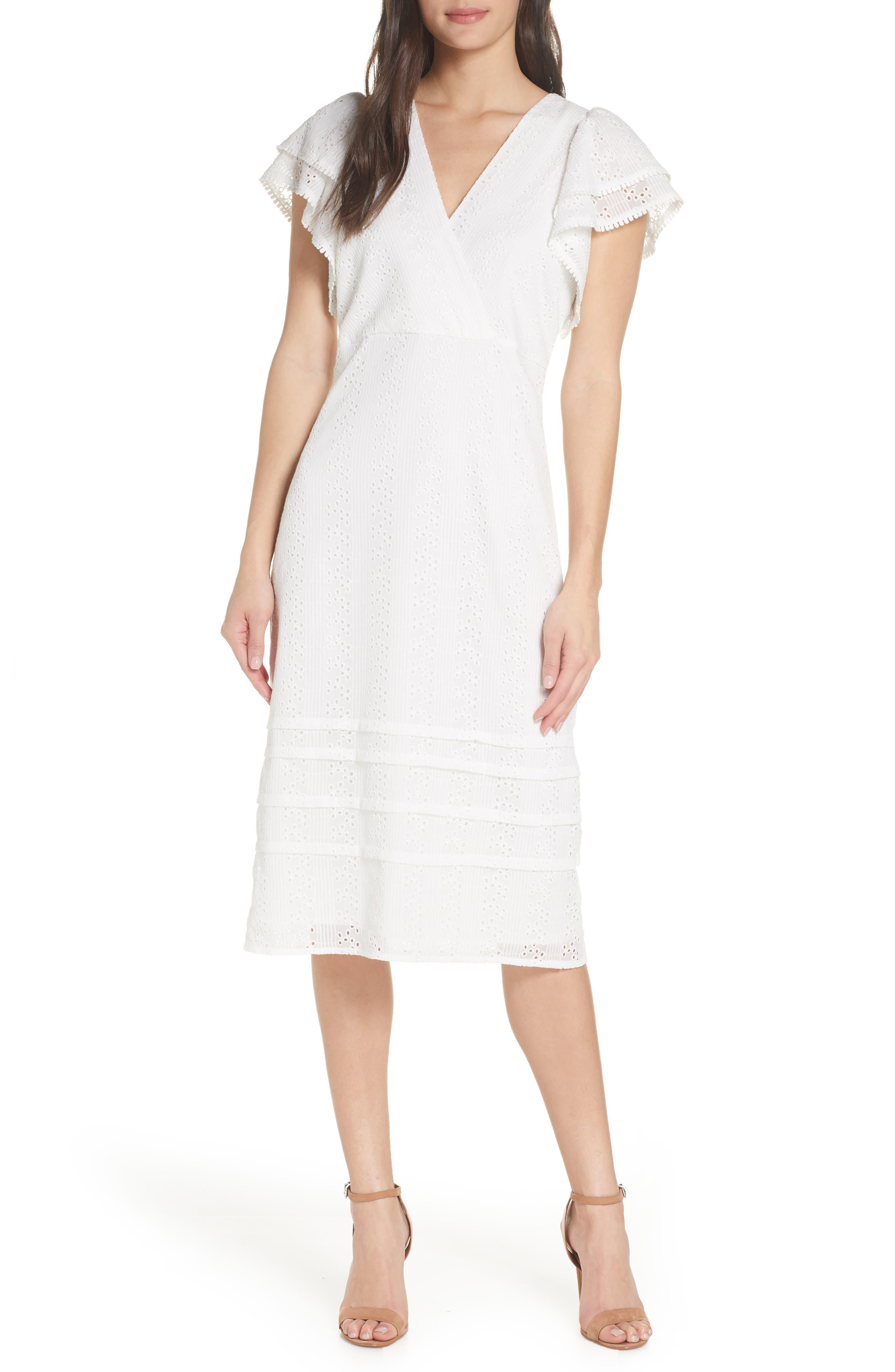 Chelsea28 Eyelet Flutter Sleeve Dress, White
