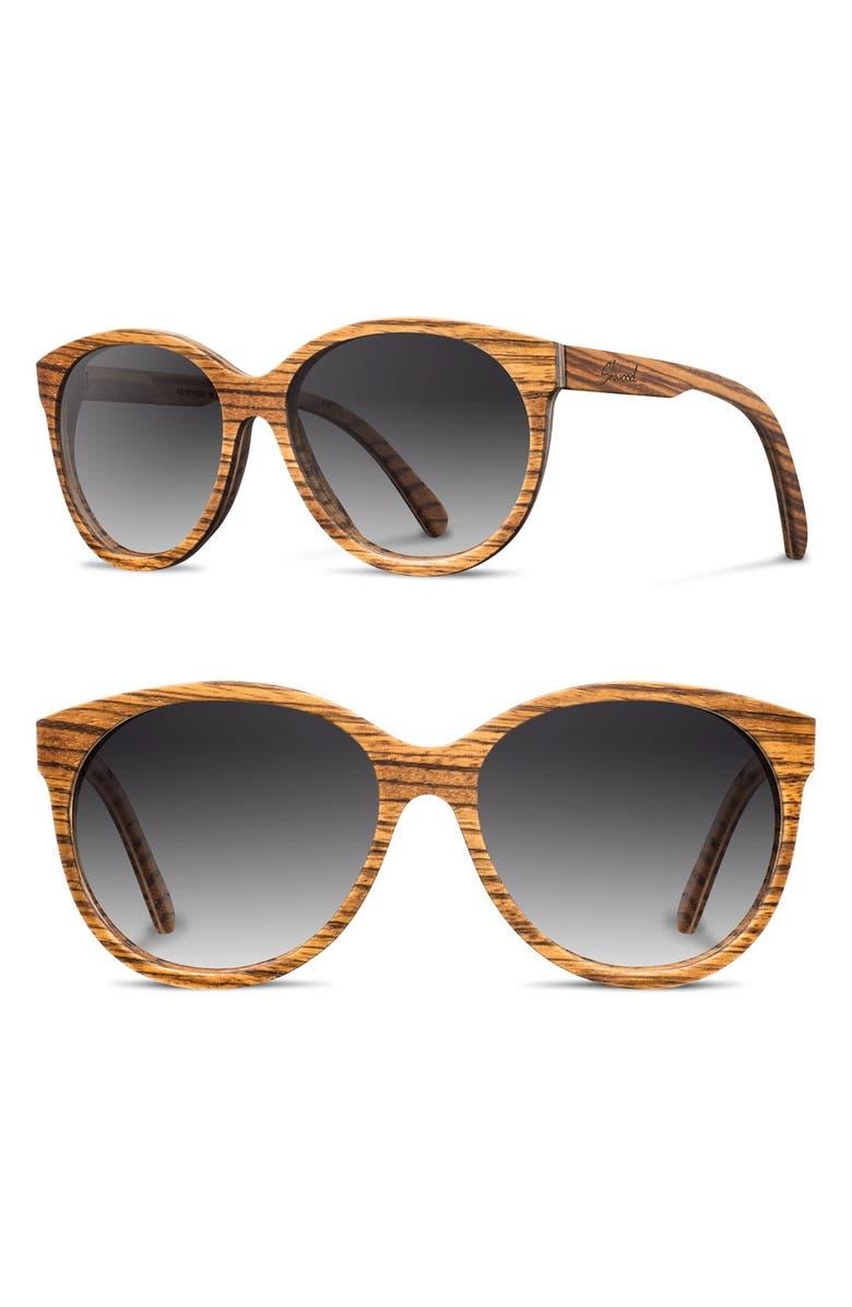 SHWOOD 'Madison' 54mm Polarized Round Wood Sunglasses, Main, color, 219