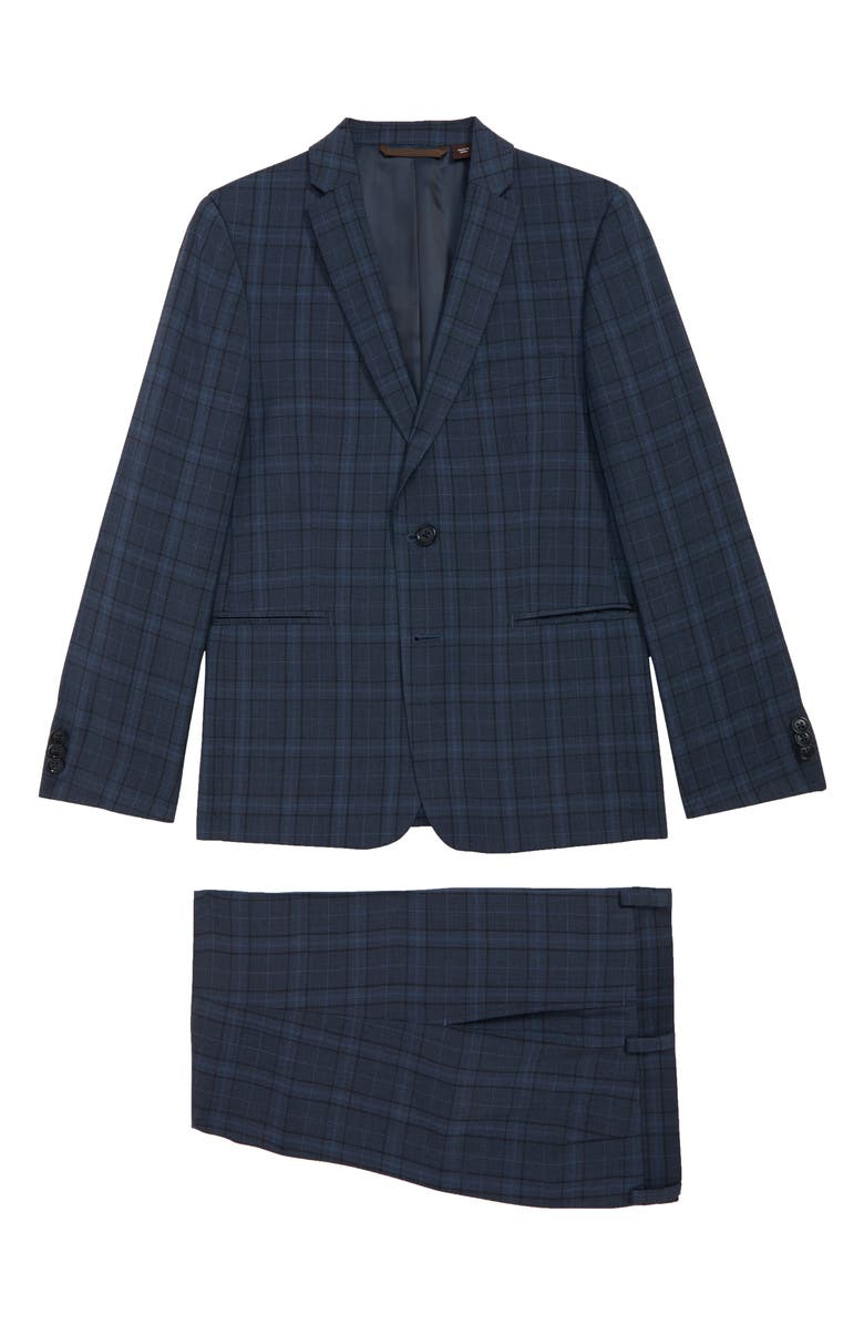 MICHAEL KORS Nested Plaid Suit, Main, color, LIGHT BLUE