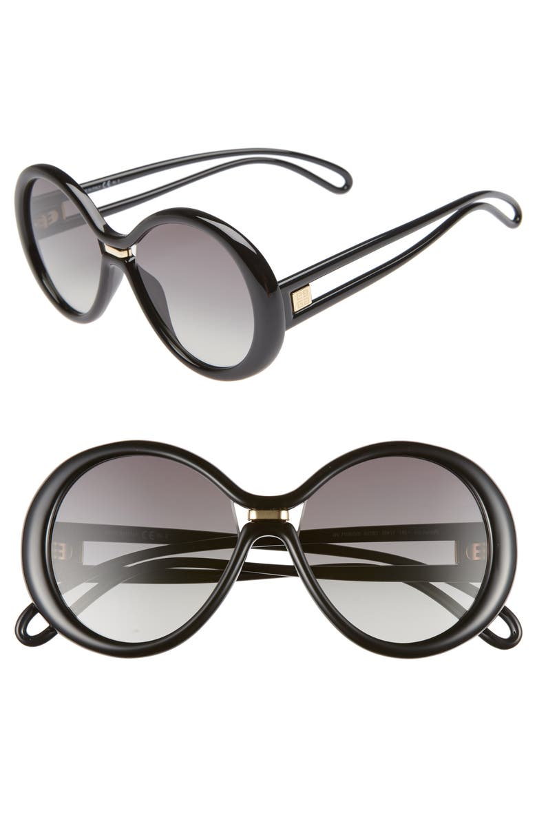 GIVENCHY 56mm Round Sunglasses, Main, color, BLACK