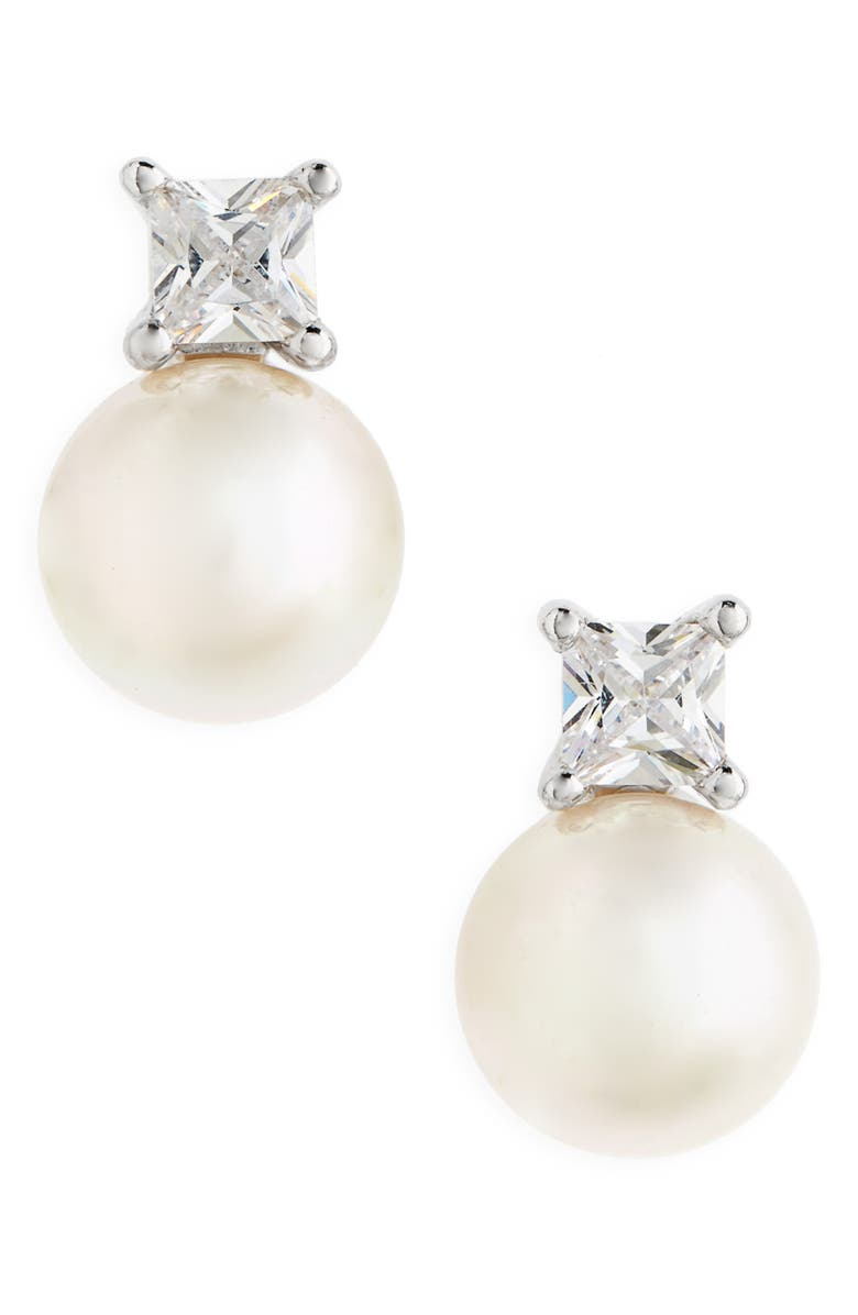 MAJORICA Pearl & Crystal Earrings, Main, color, WHITE
