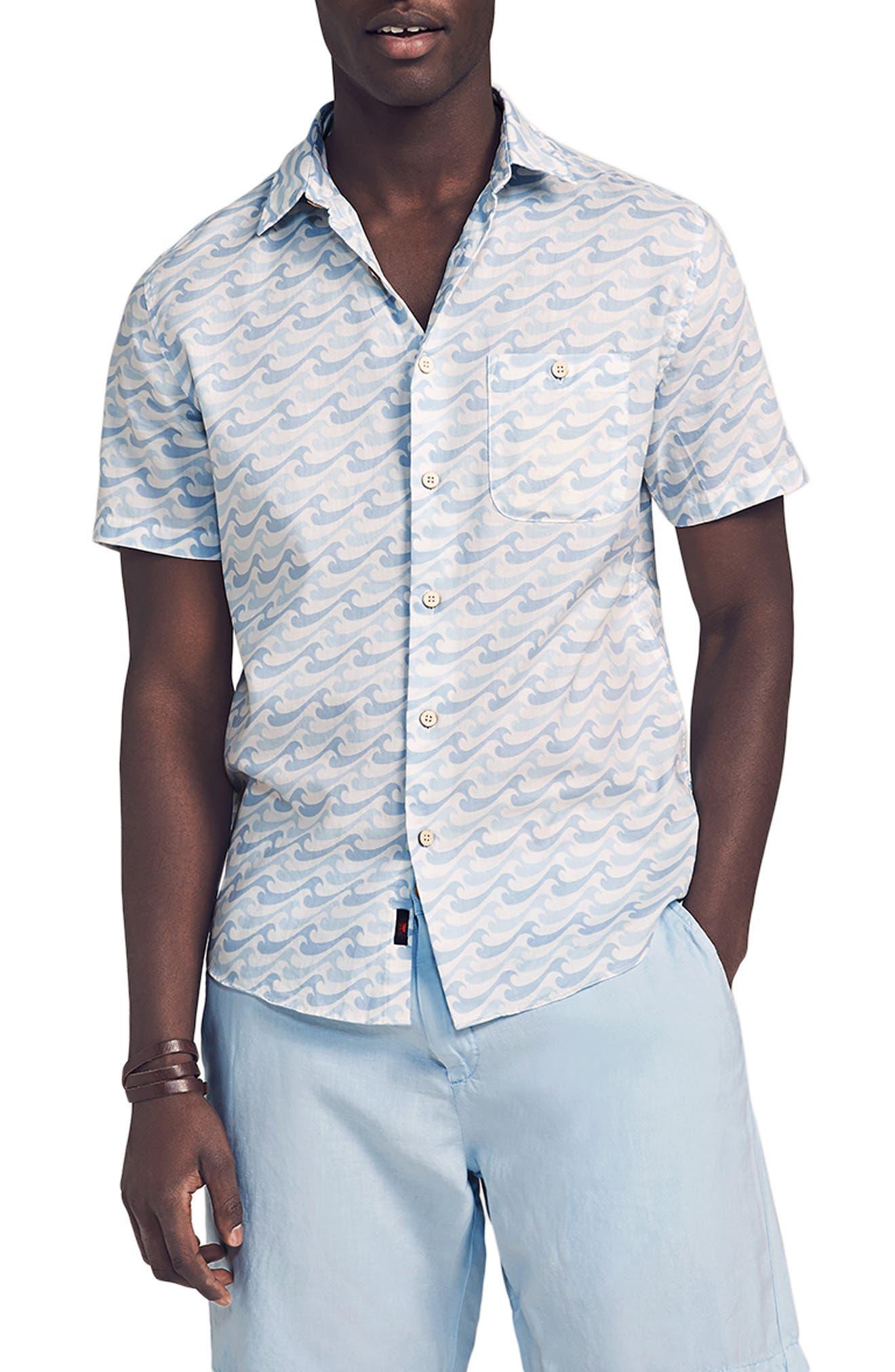 Playa Wave Print Short Sleeve Button-Up Shirt