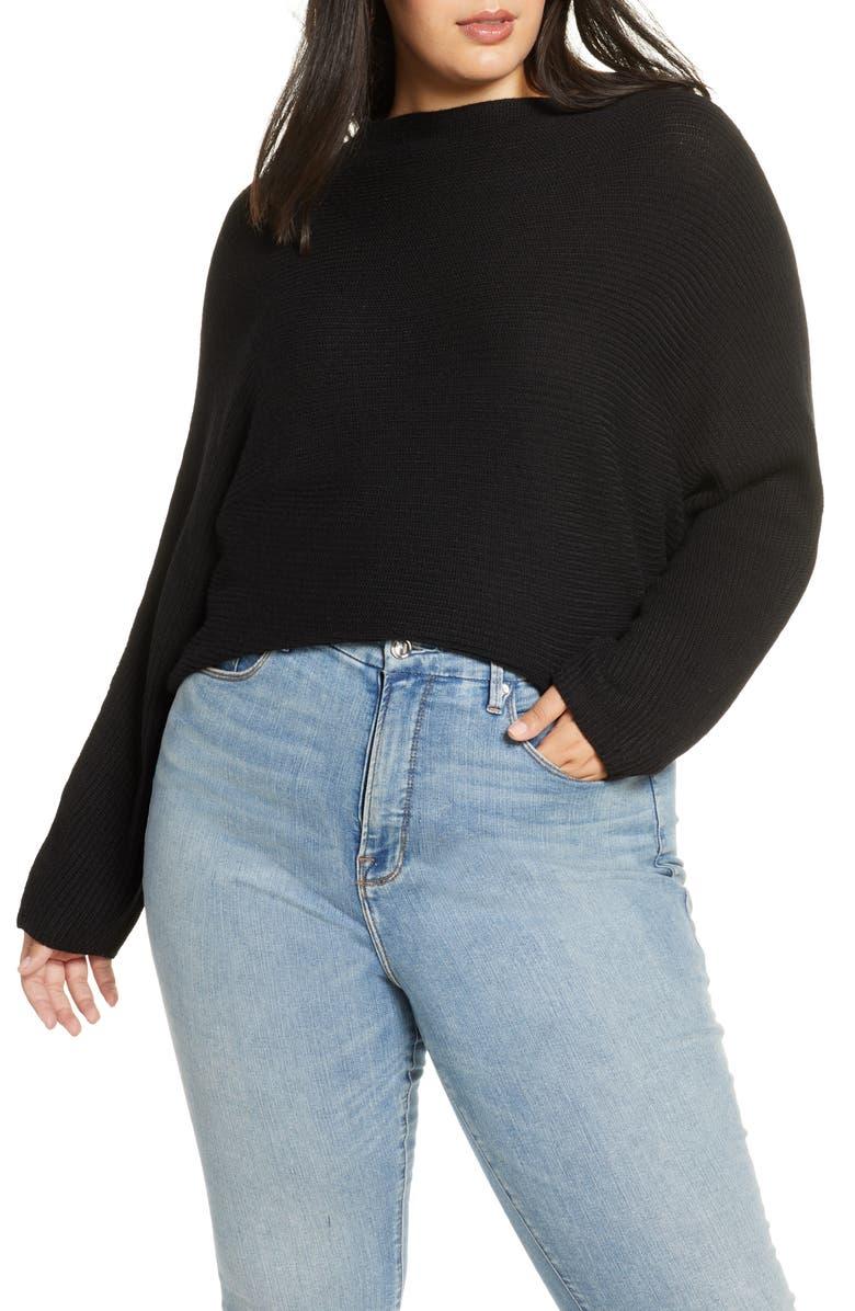 LEITH Dolman Sleeve Sweater, Main, color, BLACK