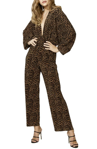 Bardot Suits LEOPARD PRINT LONG SLEEVE JUMPSUIT