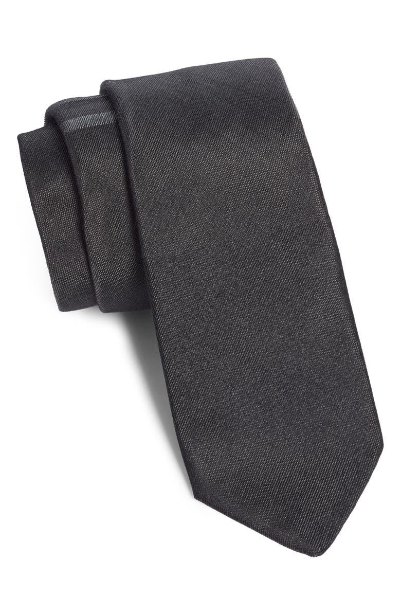 TITLE OF WORK Contrast Stripe Silk & Cotton Tie, Main, color, BLACK/ GREY