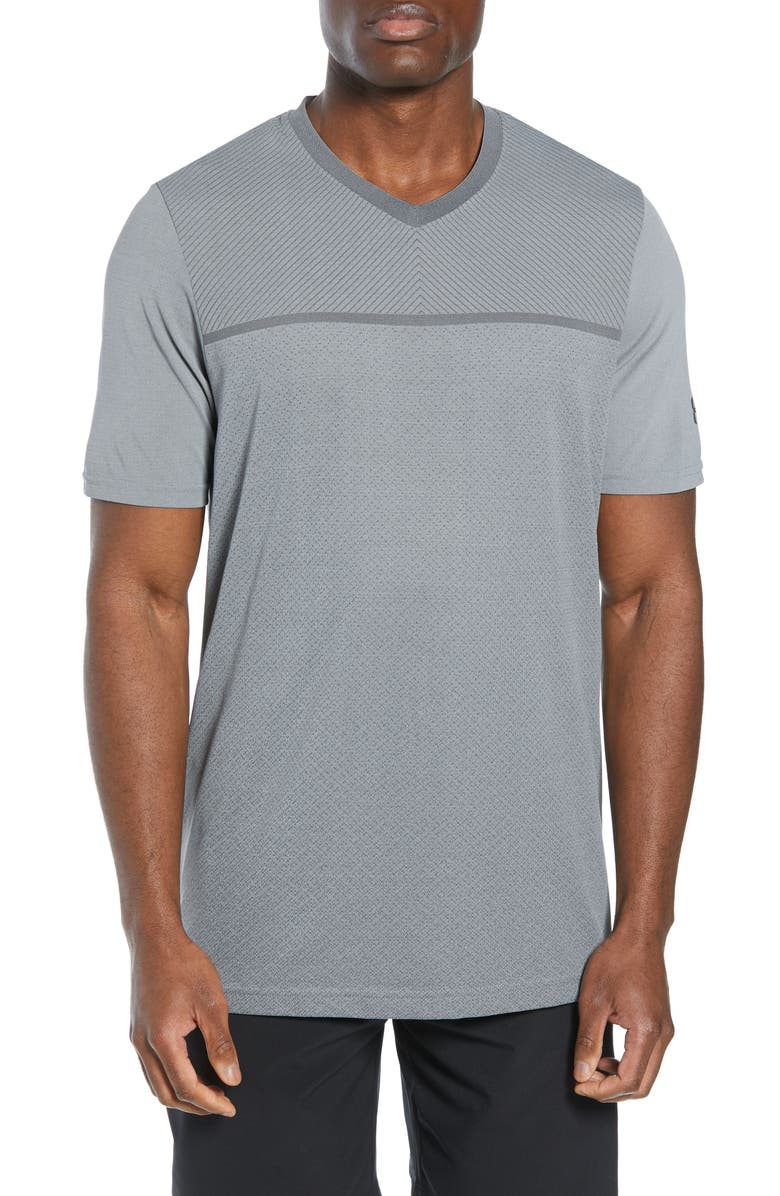 UNDER ARMOUR Vanish Seamless V-Neck T-Shirt, Main, color, GREY