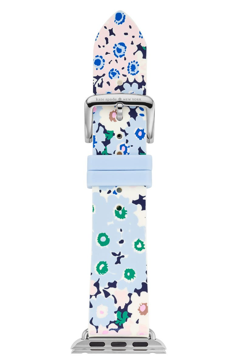 KATE SPADE NEW YORK Apple<sup>®</sup> watch strap, 38mm, Main, color, BLUE/ GREEN/ PINK/ WHITE