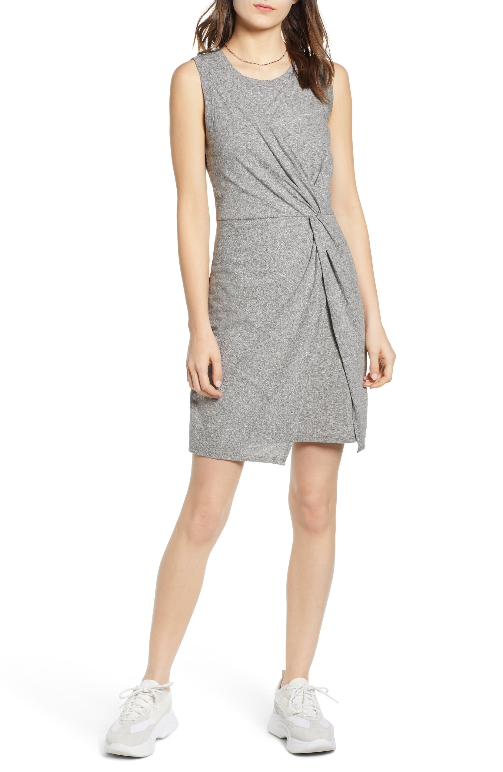 Sleeveless Twist Detail Dress, Main, color, GREY HEATHER