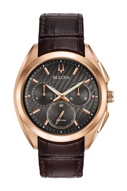 Image of Bulova Men's CURV Croc Embossed Leather Strap Watch, 43mm