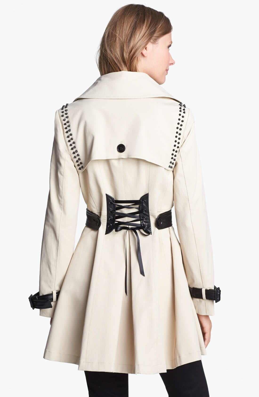 ,                             Stud & Faux Leather Trim Trench Coat,                             Alternate thumbnail 4, color,                             272