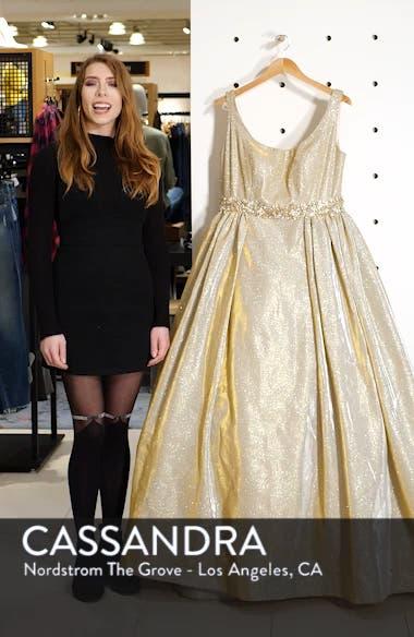 Jeweled Waist Metallic Evening Dress, sales video thumbnail
