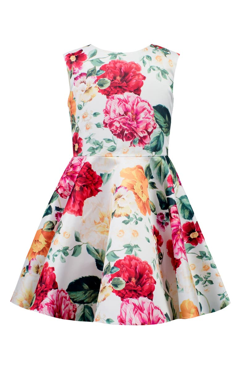 DAVID CHARLES Floral Cross Back Fit & Flare Dress, Main, color, 900