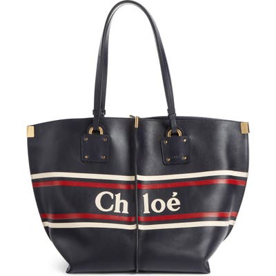 Chloe Vick Logo Embossed Leather Tote - Blue