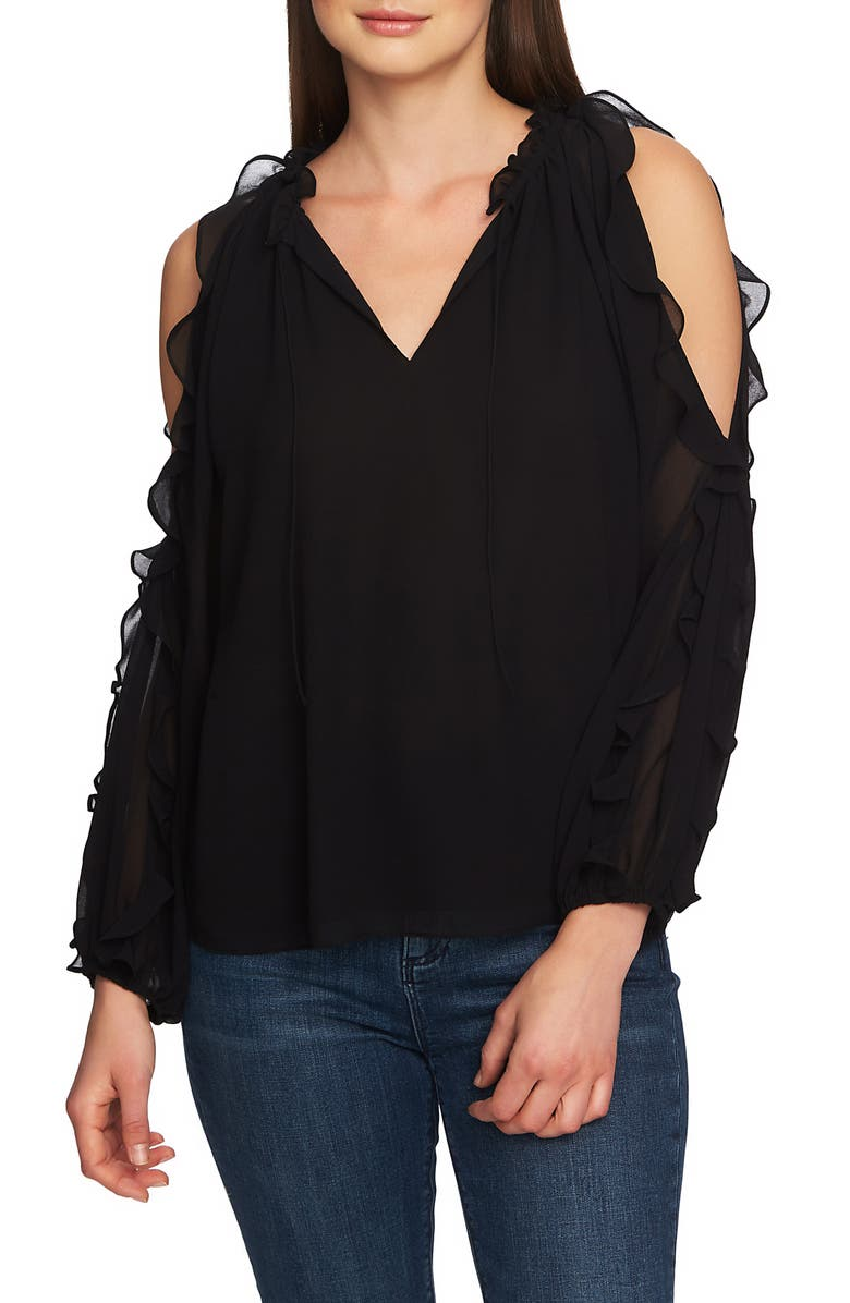 1.STATE Ruffle Cold Shoulder Top, Main, color, 001