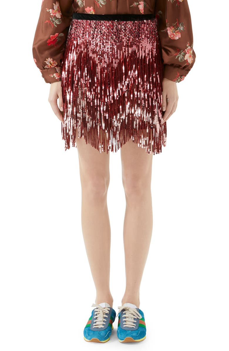GUCCI Sequin Tweed Skirt, Main, color, PINK