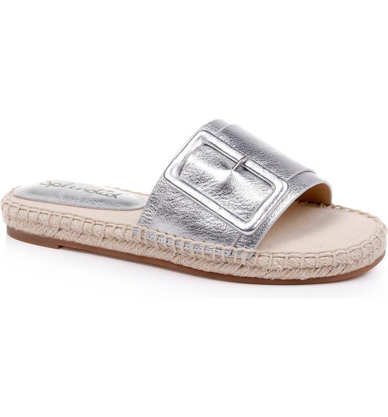 SPLENDID Simpson Espadrille Slide Sandal, Main, color, SILVER LEATHER