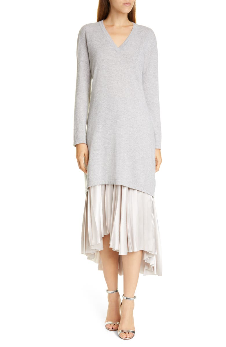 FABIANA FILIPPI Long Sleeve Cashmere Sweater & Satin Two-Piece Dress, Main, color, GREY/ TAUPE