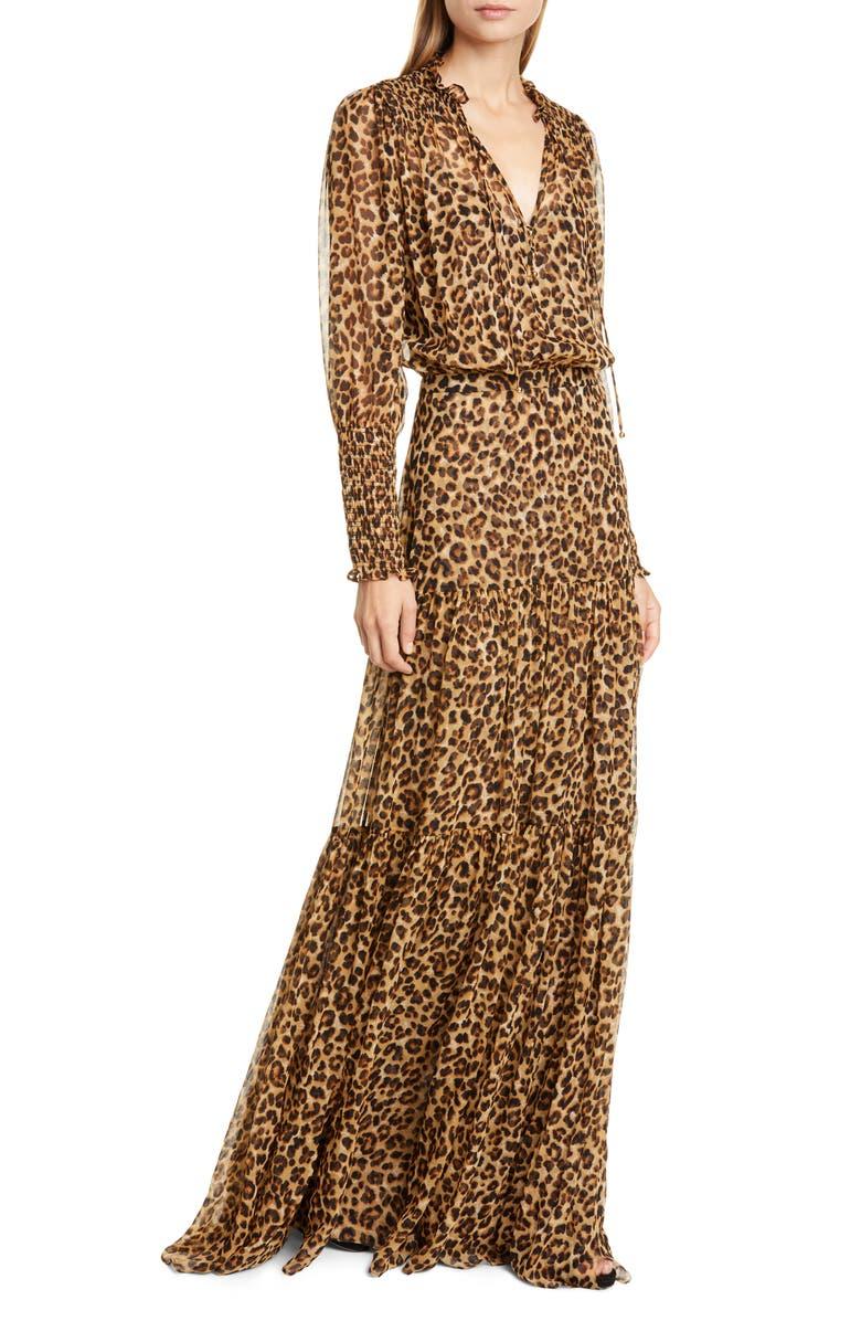 VERONICA BEARD Stacia Long Sleeve Blouson Silk Gown, Main, color, LEOPARD