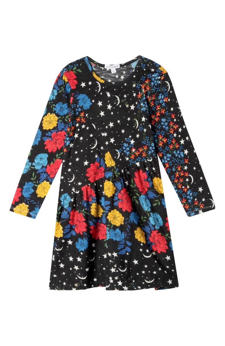 ART & EDEN Caitlin Floral Dress, Main, color, FLORAL NIGHT