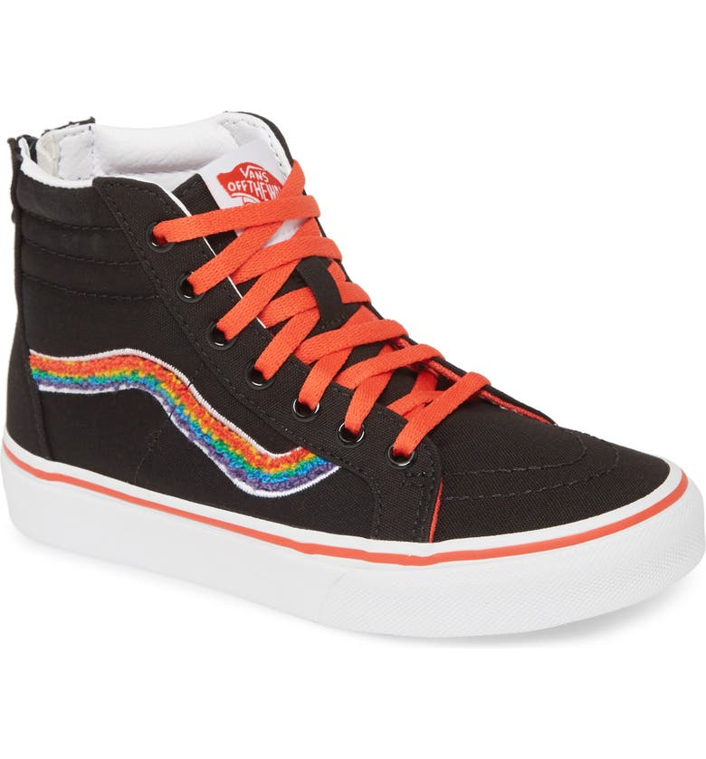 VANS Sk8-Hi Chenille Zip Sneaker, Main, color, RAINBOW/ TRUE WHITE