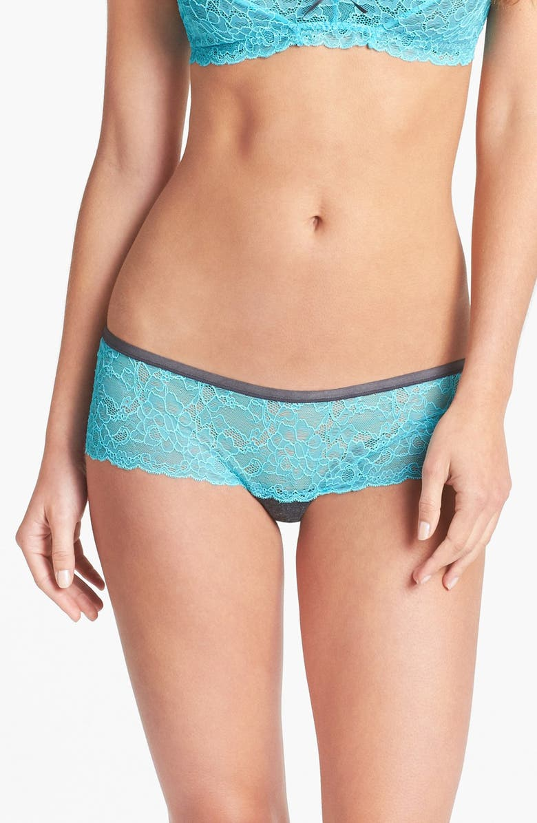 HONEYDEW INTIMATES Lace & Knit Hipster Briefs, Main, color, 001
