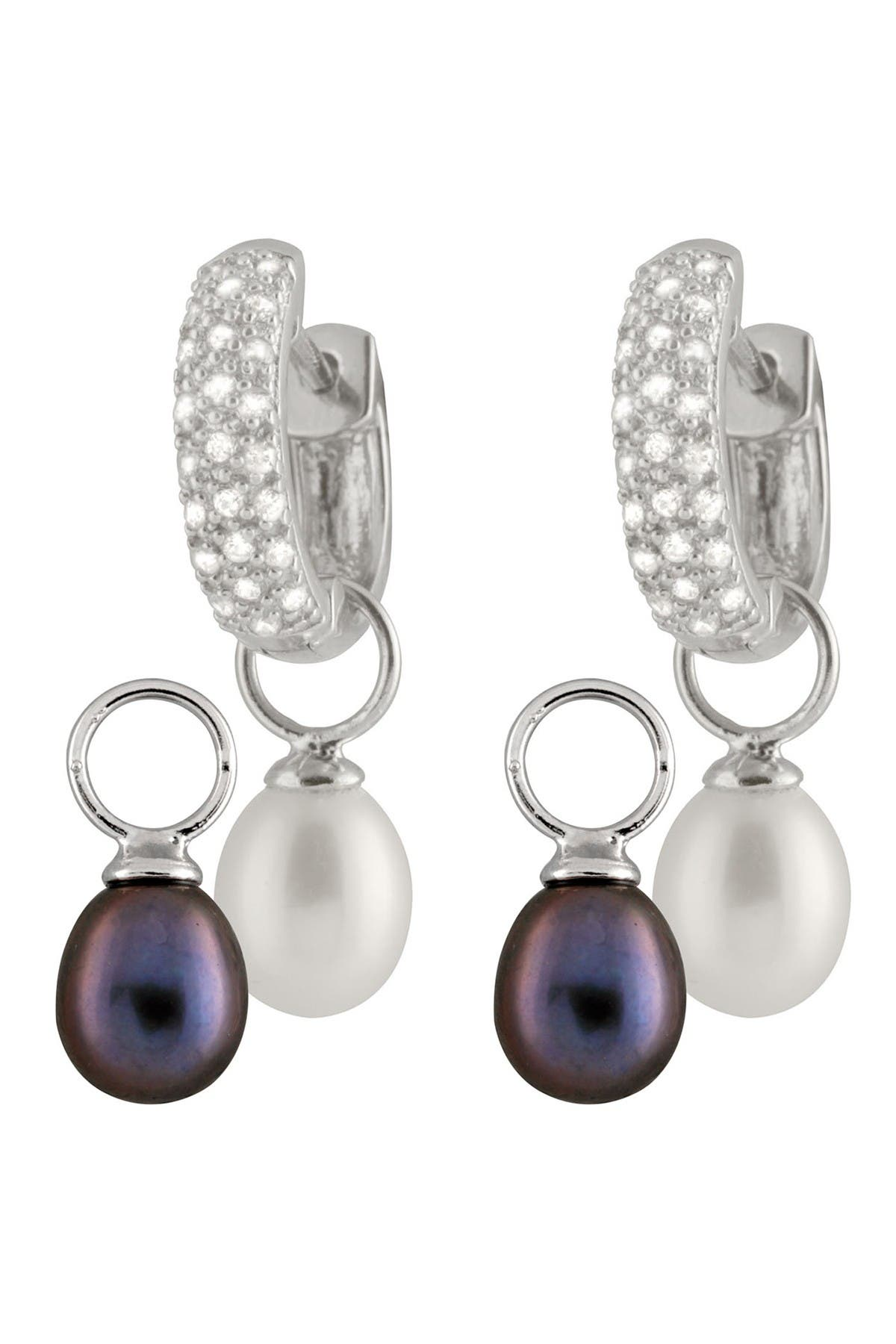 Splendid Pearls 8-8.5mm Black & White Interchangeable Cultured Freshwater Pearl Day & Night Earrings at Nordstrom Rack