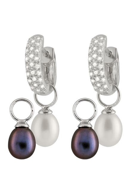 Image of Splendid Pearls 8-8.5mm Black & White Interchangeable Cultured Freshwater Pearl Day & Night Earrings