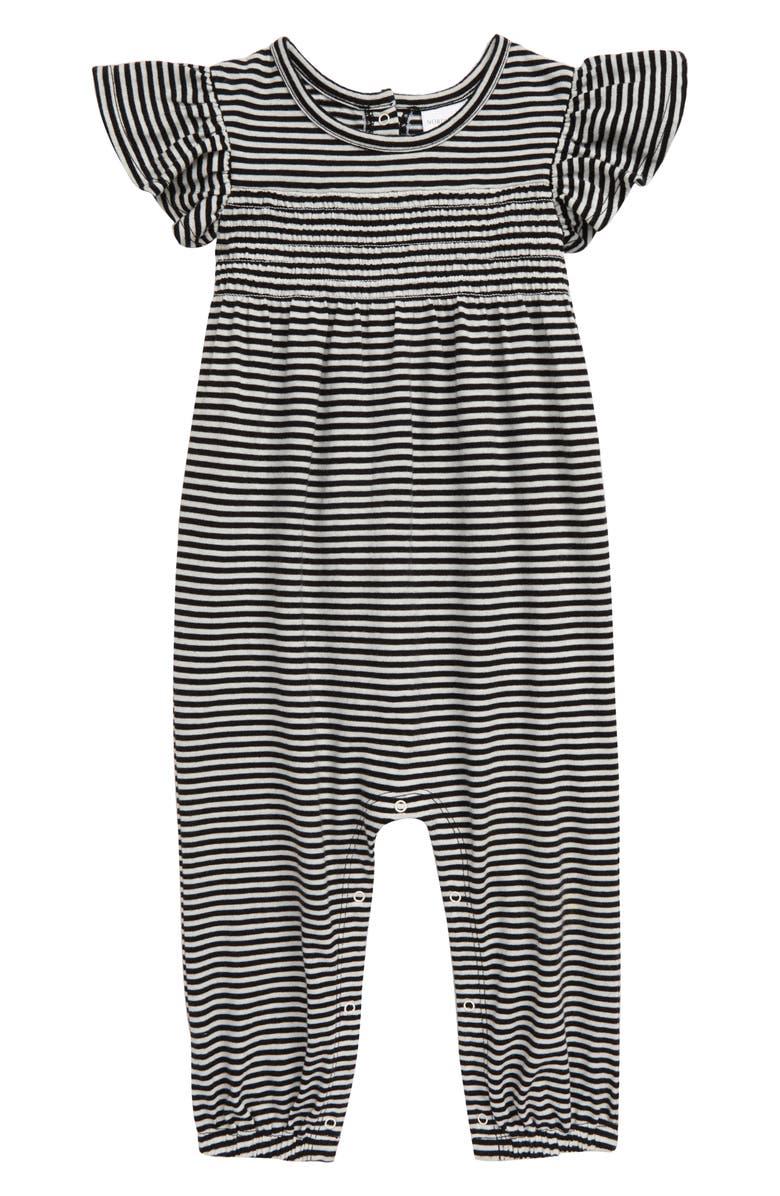 NORDSTROM BABY Stripe Flutter Sleeve Romper, Main, color, BLACK- IVORY FINE STRIPE