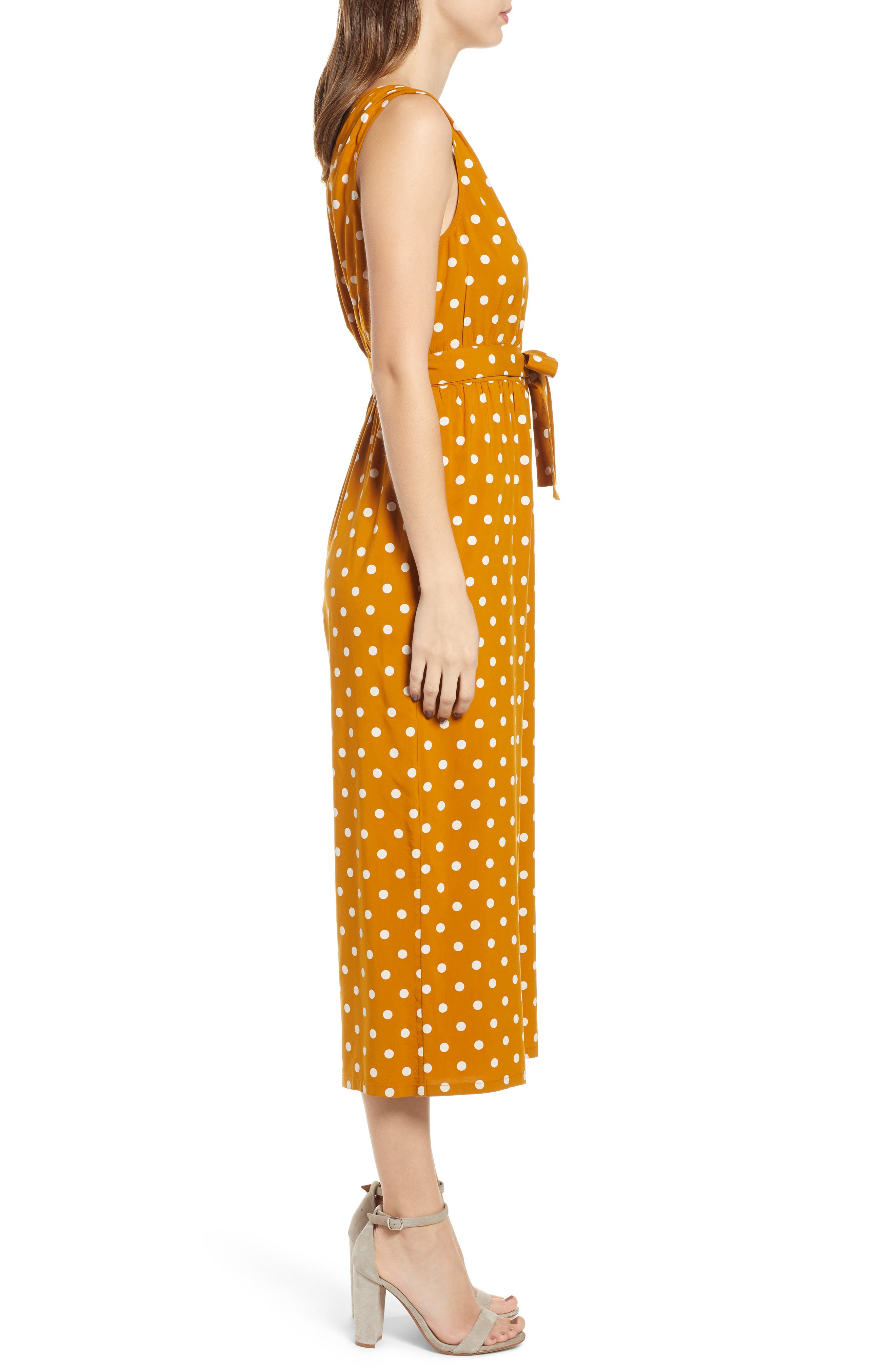 ,                             Polka Dot Jumpsuit,                             Alternate thumbnail 4, color,                             BROWN BUCKTHORN POLKA DOT