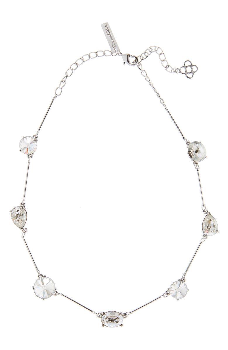 OSCAR DE LA RENTA Crystal Frontal Necklace, Main, color, CRYSTAL SHADE/ SILVER