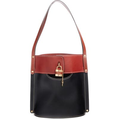 Chloe Aby Bicolor Leather Bucket Bag - Black