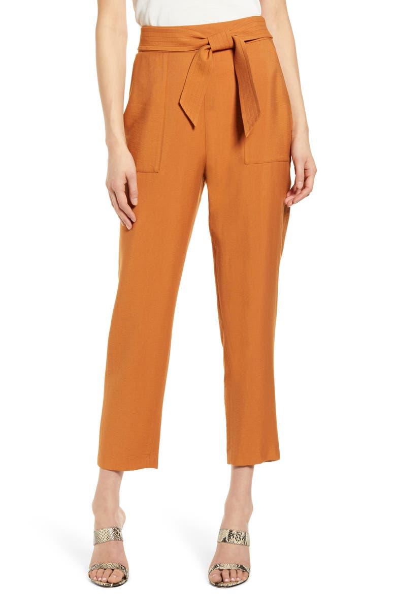 LEITH Tie Waist Utility Pants, Main, color, TAN ADOBE